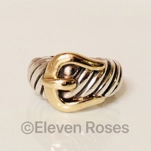 David Yurman Sterling & 18k Gold Cable Buckle Ring